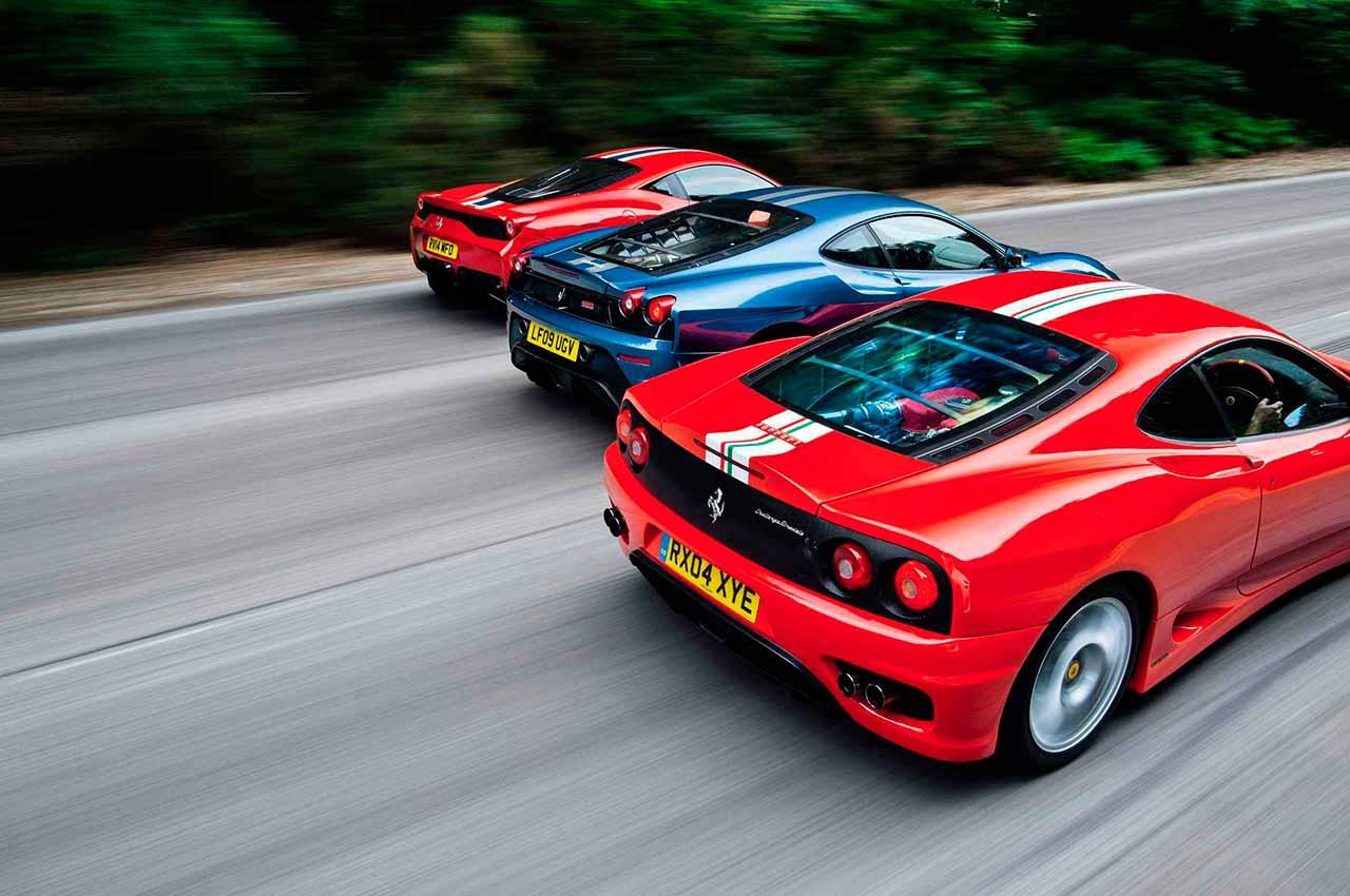 2003 Ferrari 360 Challenge Stradale Vs 2007 Ferrari 430 Scuderia And 2013 Ferrari 458 Speciale Drive
