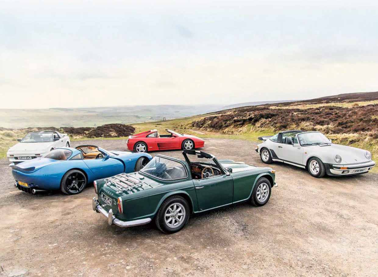 1966 Triumph TR4A vs. 1987 Porsche 911 Carrera 3.2 Targa Supersport G-Series, 1987 Toyota MR2 MkI, 1992 Ferrari 348ts, 2001 TVR Tuscan Speed Six Red Rose