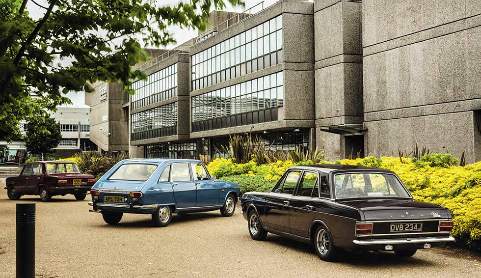 Renault 16TS vs. Fiat 125S and Ford Cortina 1600E 4-door Saloon MkII