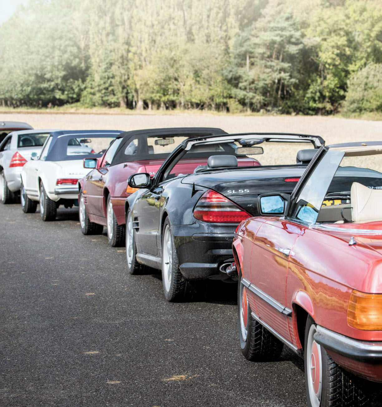 1965 Mercedes-Benz 230SL W113 vs. 1977 350SL R107, 1995 SL320 R129, 2000 SLK230K R170 and 2003 SL55 AMG R230