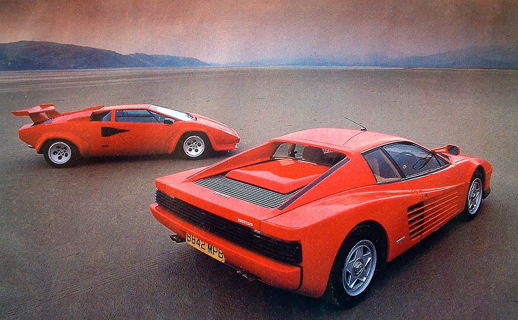 1986 lamborghini countach qv vs ferrari testarossa giant road test drive m. Black Bedroom Furniture Sets. Home Design Ideas