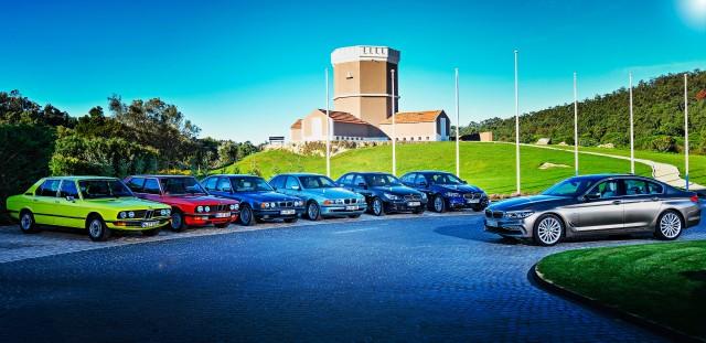 All generations of BMW 5-Series driving - E12, E28, E34, E39, E60, F10 and all new G30