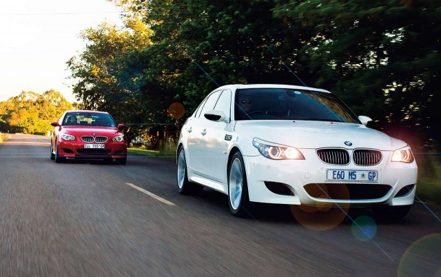 BMW M5 SMG E60 against an example E60 M5 that's been converted to a six-speed manual