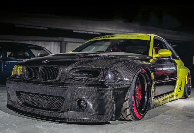 Carbon-clad wide-body BMW M3 E46 KEAN Suspensions
