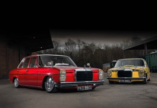 The Chelsea Lower Show Mercedes-Benz 280 W114 Yellow and Mercedes-Benz 250 W114 Red