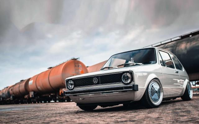 "Restored Volkswagen Golf Mk1 on custom 16"" Ronal R11s"