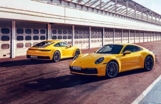 2020 Porsche 911 Carrera S 992 vs. Carrera 4S 992 against one another on track