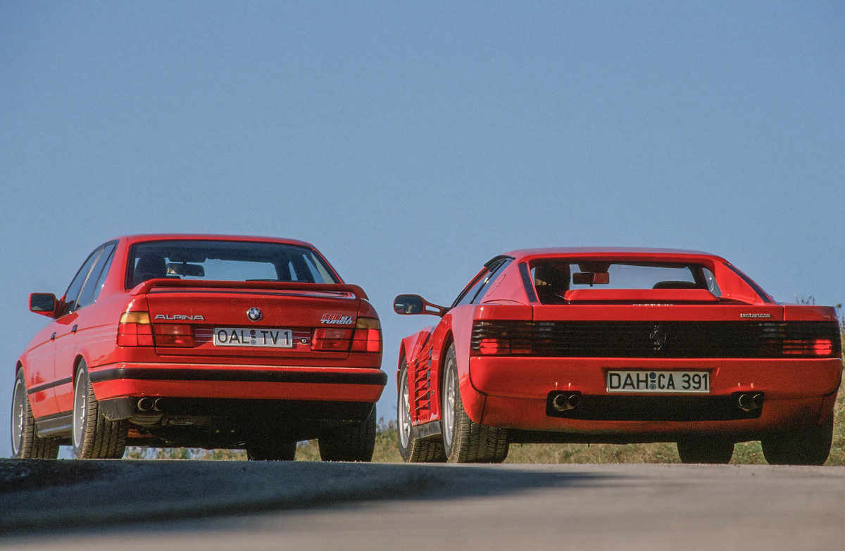 ferrari testarossa vs bmw m5 e34   1990 giant road test