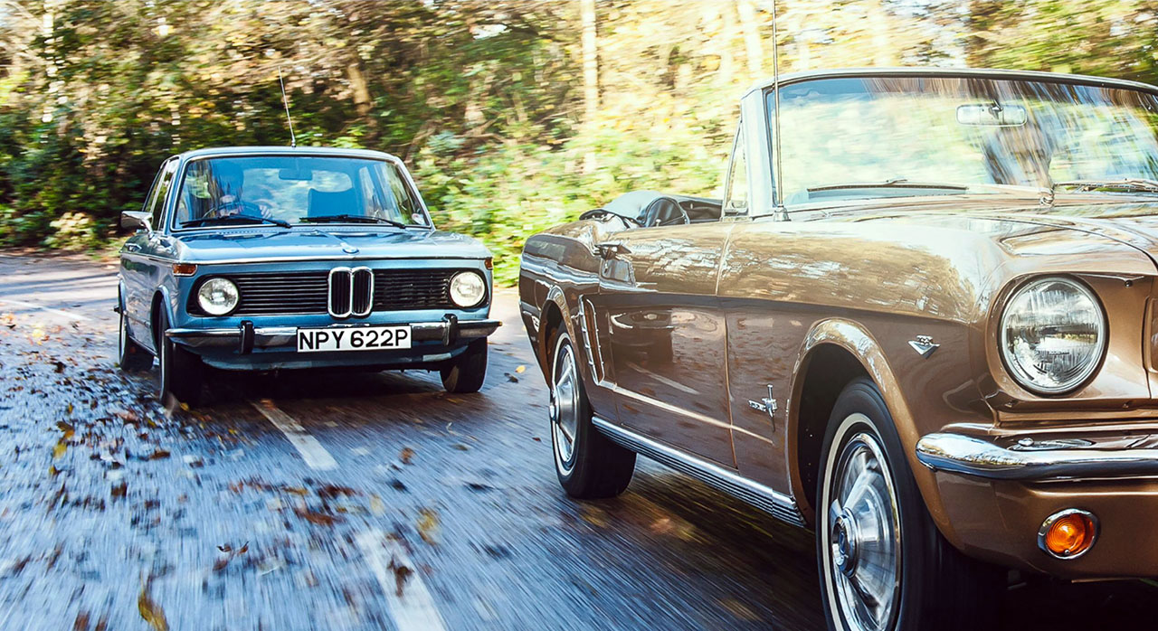 BMW 2002ti and Ford Mustang