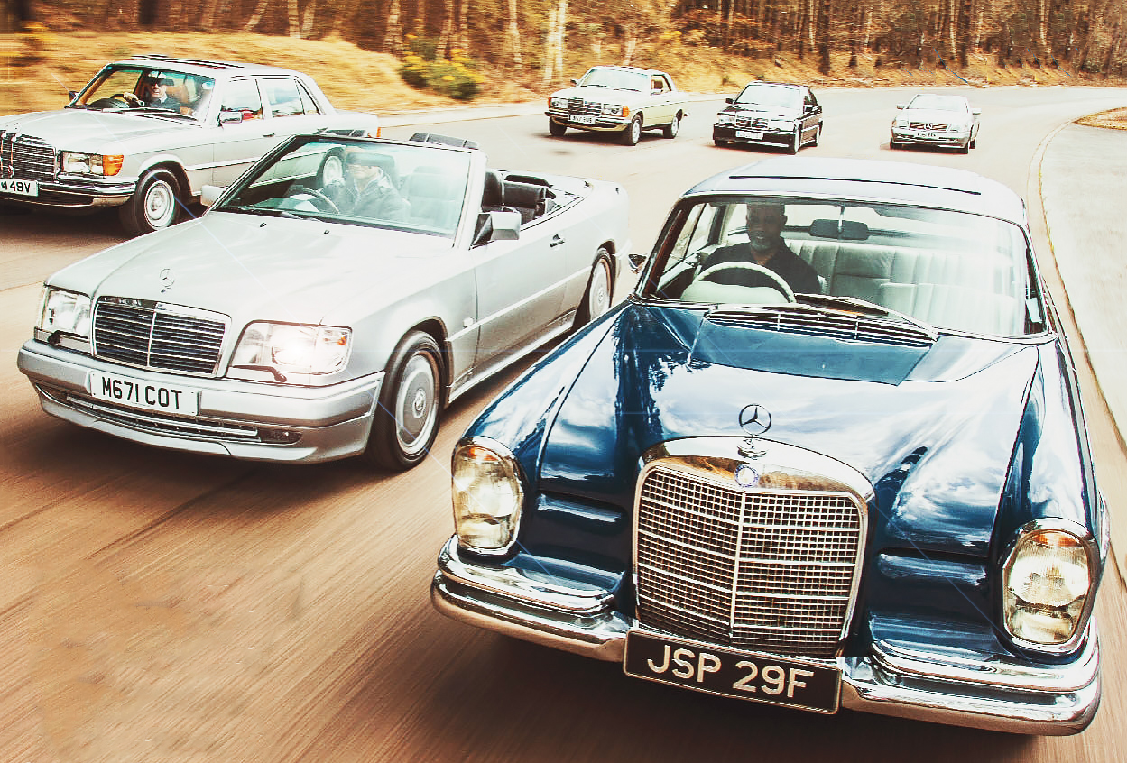 Mercedes class reunion from left: 280 SE, E320 Cabriolet, 280CE Coupé, 190E 2.3 Cosworth, 450 SEL 6.9, SL 500
