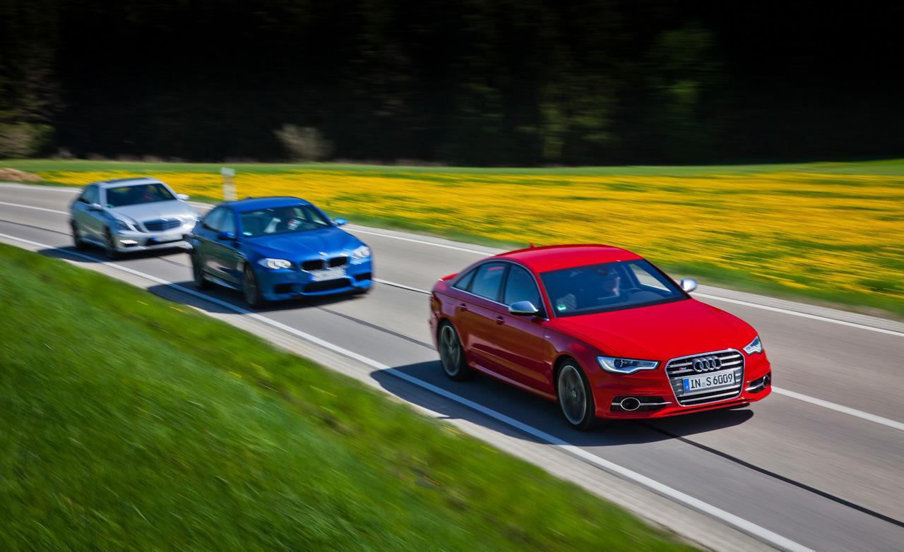 Audi S6 против BMW M5 и Mercedes-Benz E63 AMG тест