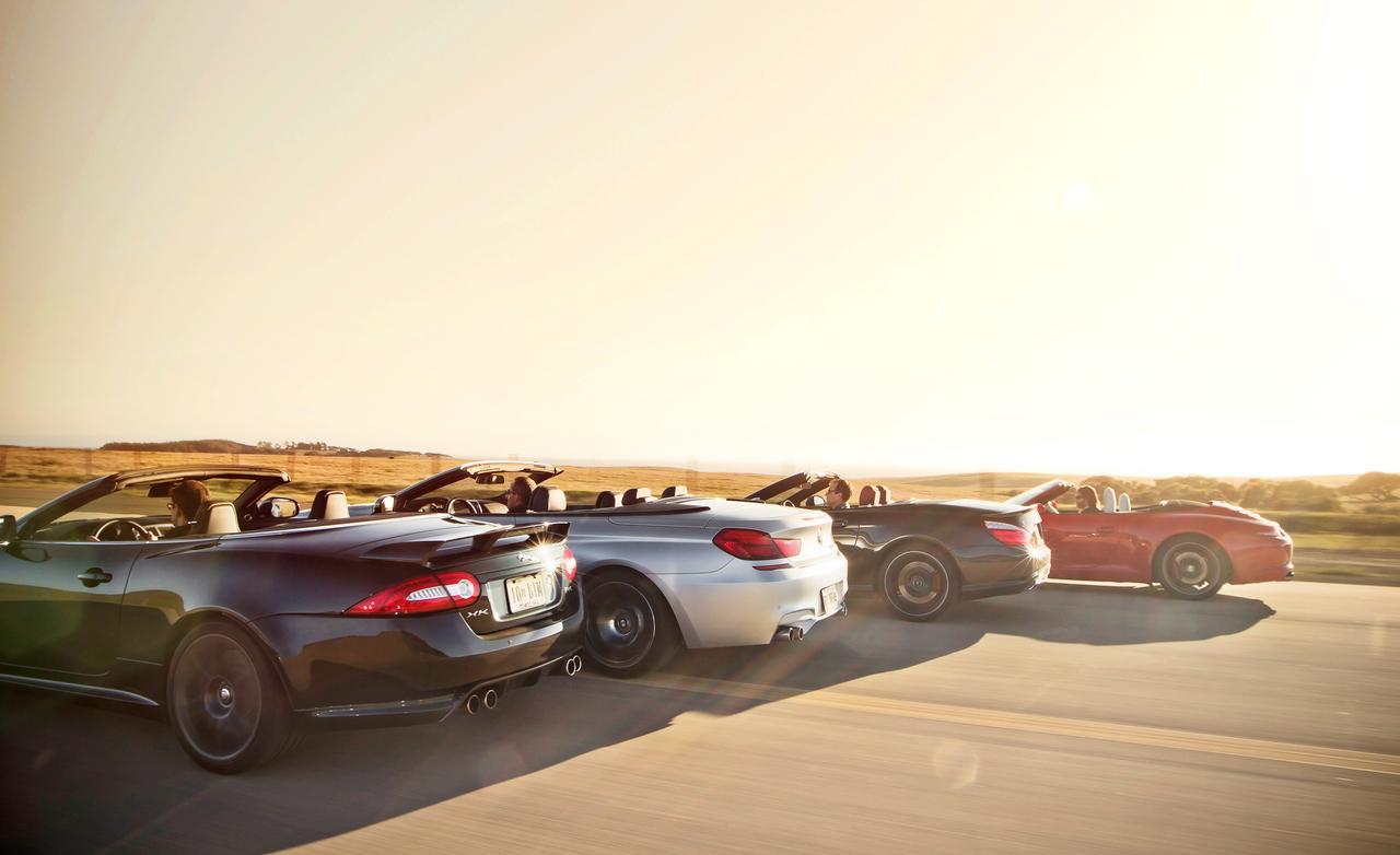 Тест BMW M6 Cabrio, Jaguar XKR-S Convertible, Mercedes-Benz SL63 AMG, и Porsche 911 Carrera S Cabriolet