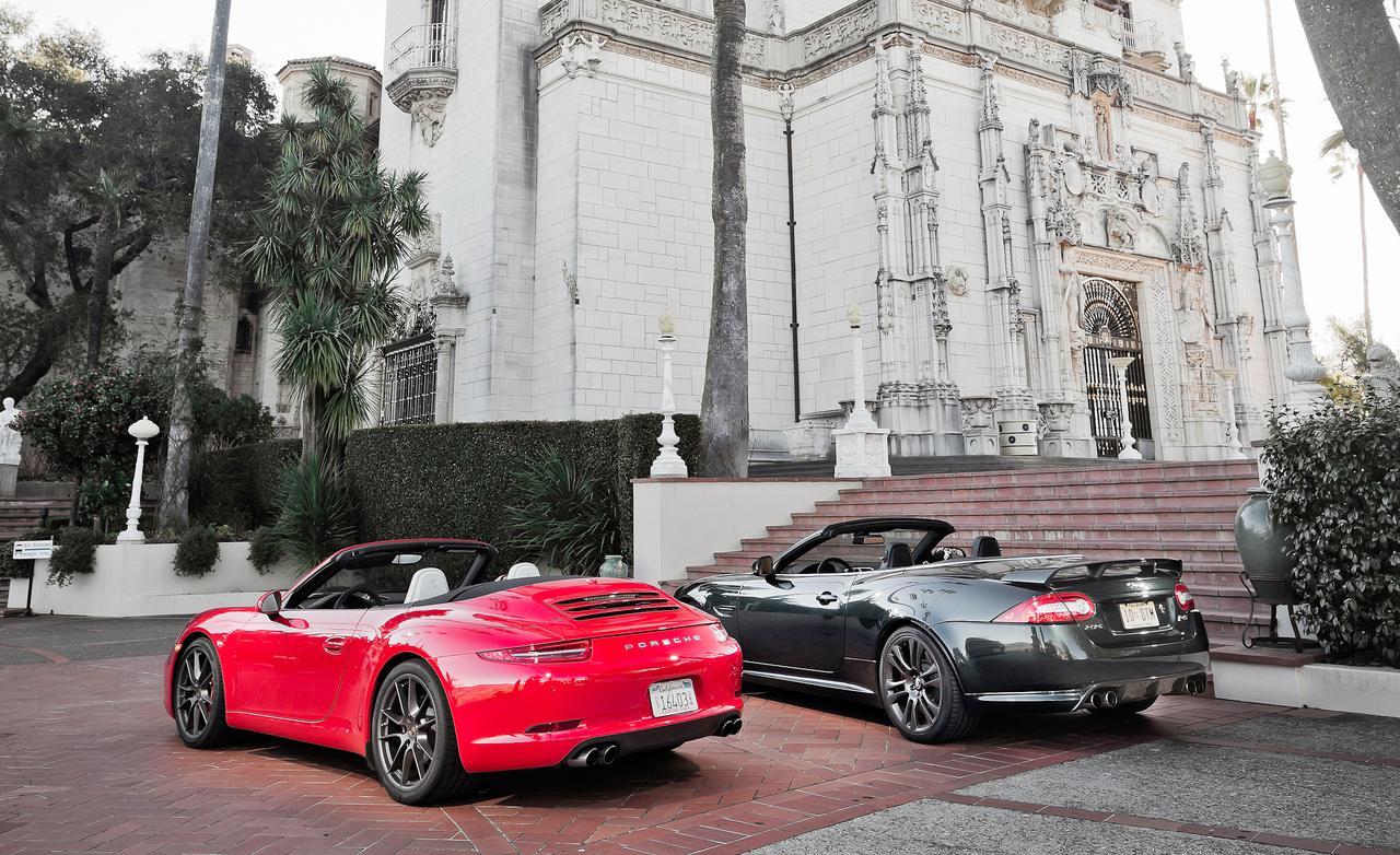 jaguar xkr-s convertible porsche-911 тест