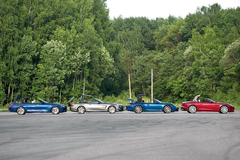Сравнение Jaguar F-Type, Mercedes-Benz SL63, Porsche 911 Cabriolet и BMW M6