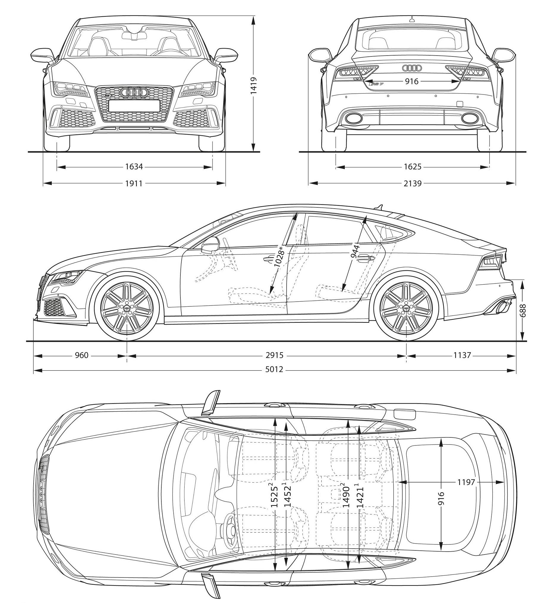 Audi RS7 размеры