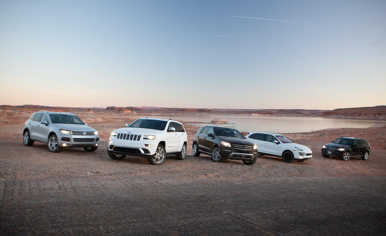 Сравнение Jeep Grand Cherokee, Volkswagen Touareg TDI, Mercedes-Benz ML350 BlueTec 4MATIC, Porsche Cayenne Diesel, BMW X5 xDrive35d