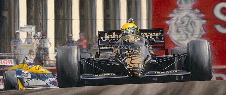 бразильская легенда изображена в любимом болиде художника, машине Lotus в цветах JPS