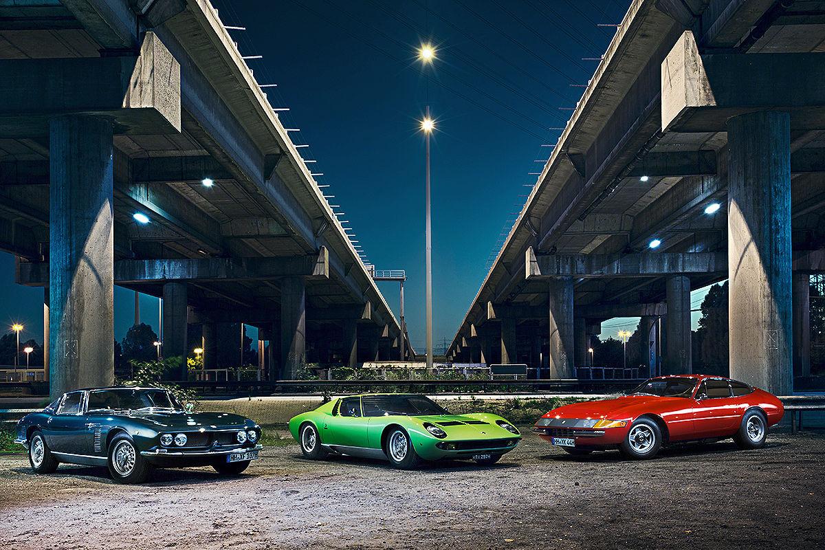 Тест Ferrari 365 GTB/4 Daytona против Iso Grifo GL 350 и Lamborghini Miura P400 S - итальянский пробег по Германии