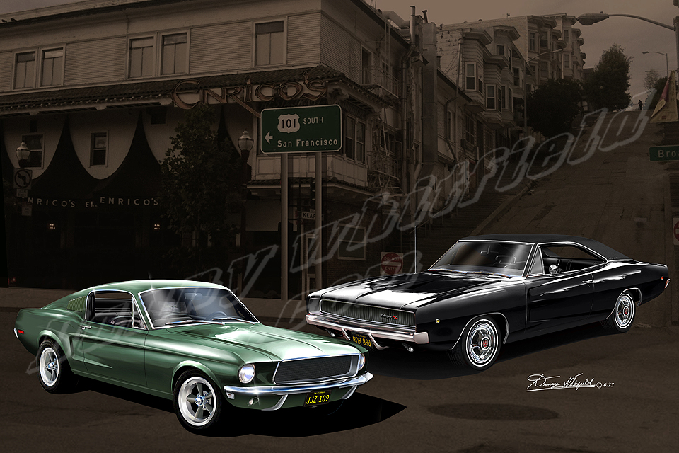 Steve McQueen's Ford Mustang 390 GT vs Dodge Charger 440R/T