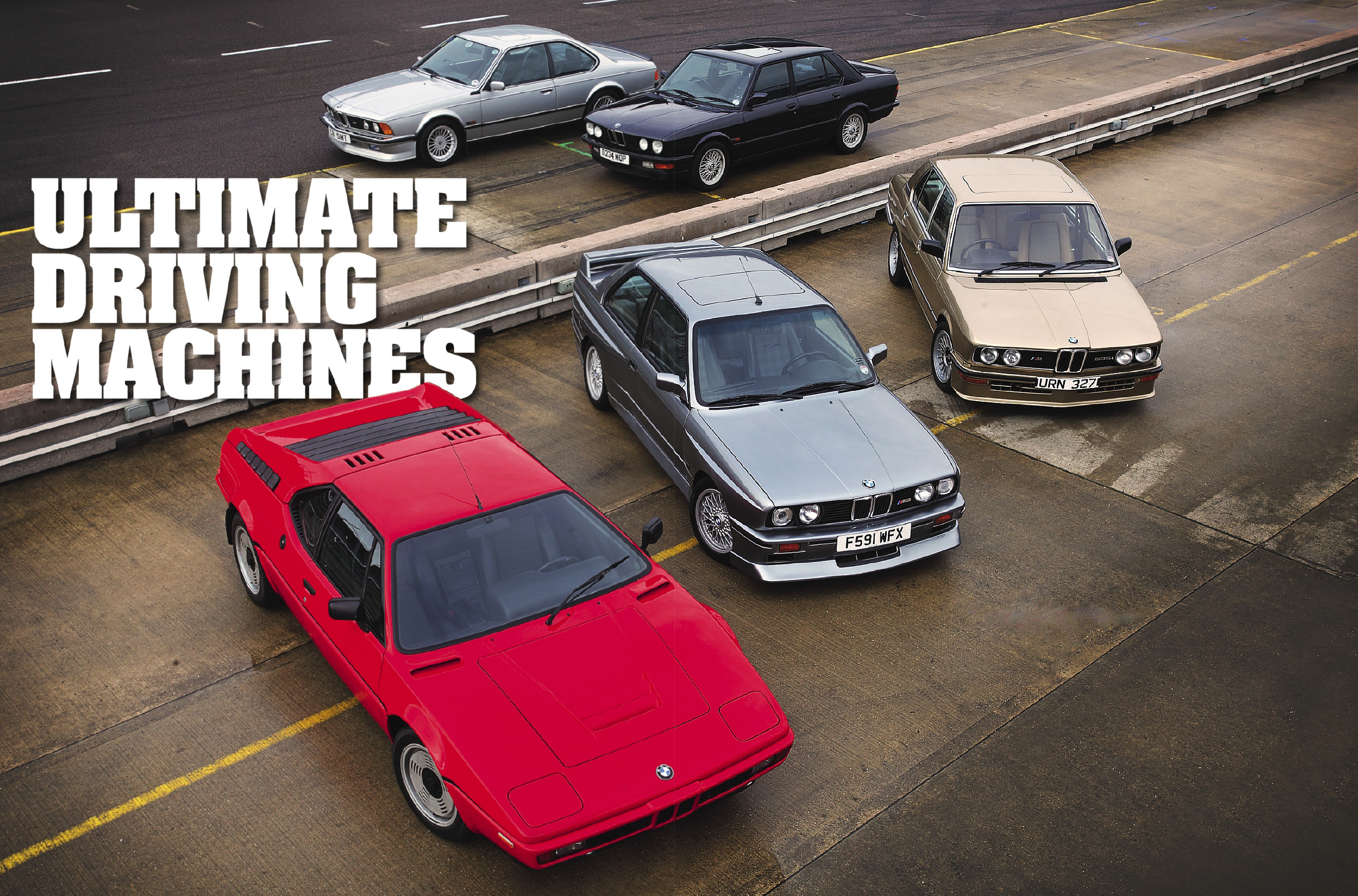 BMW E26 M1, E12 M535i, E28 M5, E24 M635CSi and E30 M3 EVO II