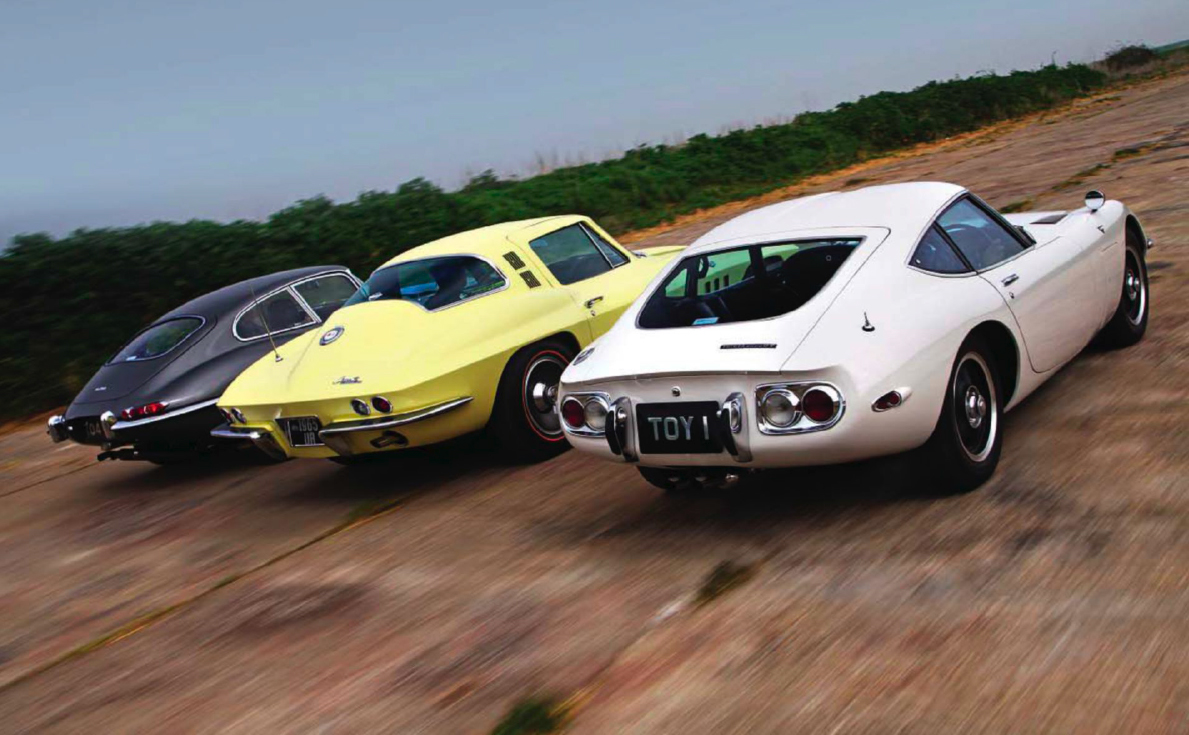Chevrolet Corvette Stingray C2 vs Jaguar E-type S1 FHC and Toyota 2000GT