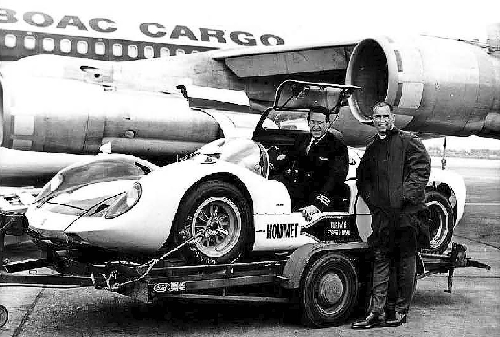 Howmet arriving in UK for 1968 BOAC 500 race at Brands Hatch