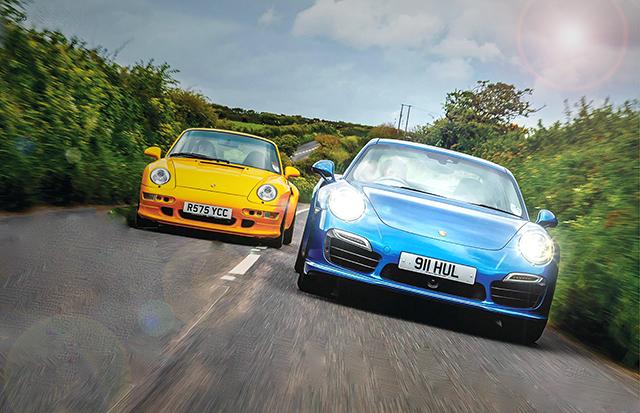 giant test-drive Porsche 911 Turbo 993 1998 vs 911 Turbo S 991 2014