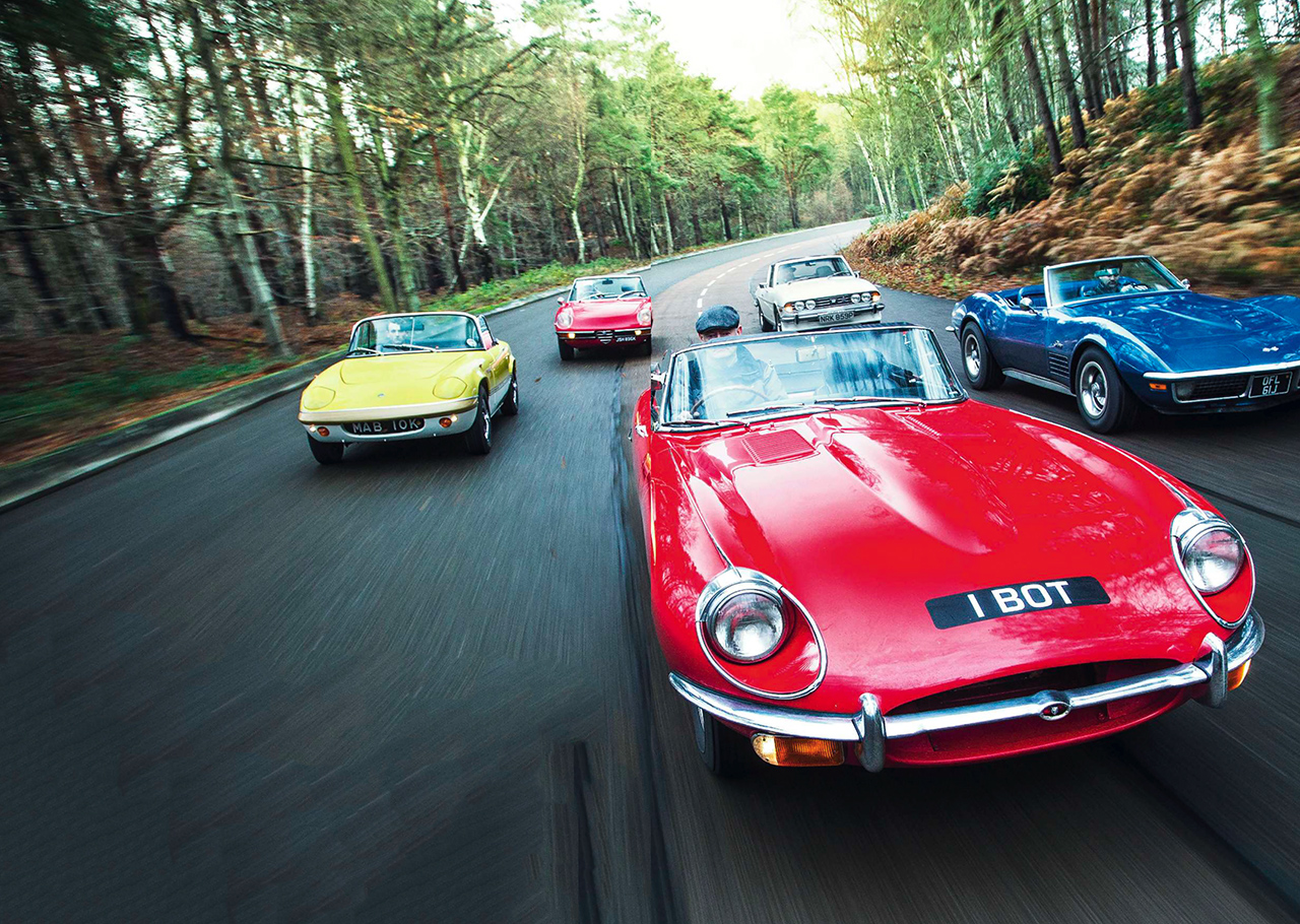 Jaguar E-type vs Chevrolet Corvette Stingray, Lotus Elan Sprint S3, Alfa Romeo Spider 2000 and Triumph Stag
