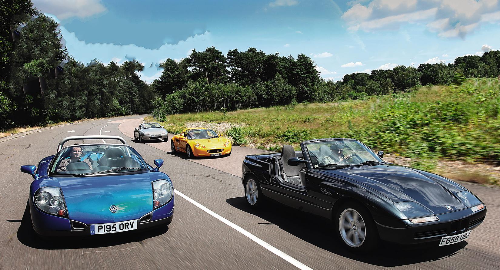 Mazda MX-5 vs Lotus Elise, Renault Sport Spider and BMW Z1