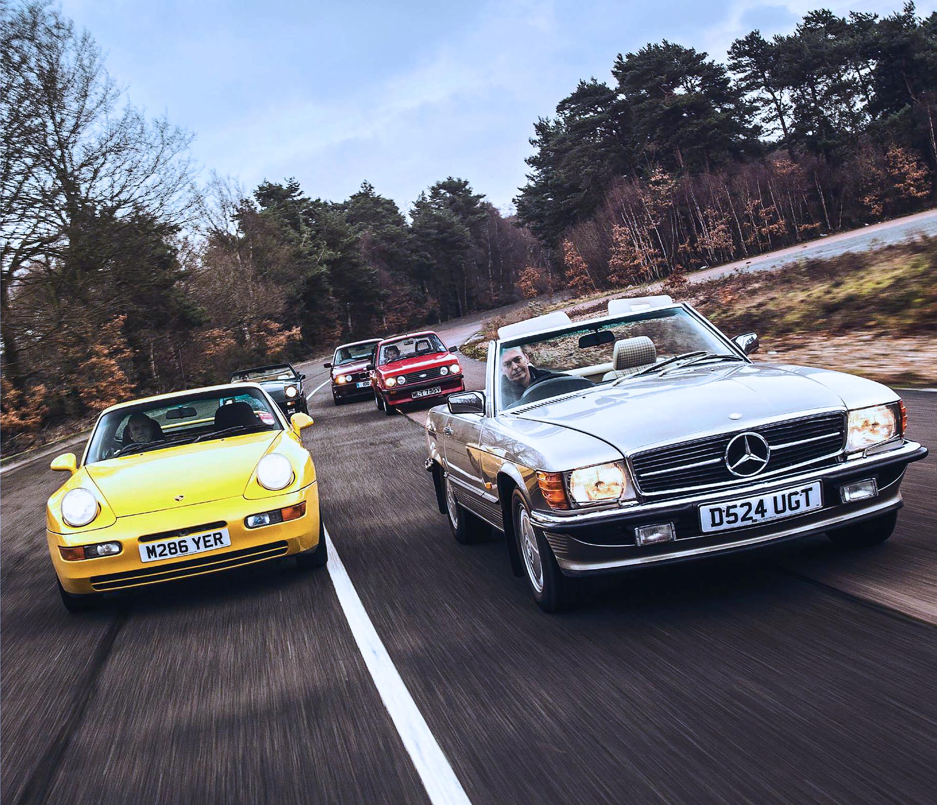 Giant-test Porsche 968 Club Sport vs TVR 350i, BMW E34 M5, Ford Escort RS 2000 and Mercedes-Benz 500 SL R107