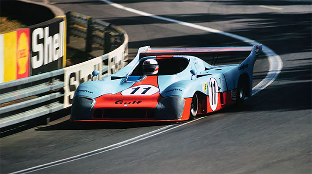 Bell sweeps through the Esses in the Gulf Mirage, on his way to his first victory at Le Mans in 1975