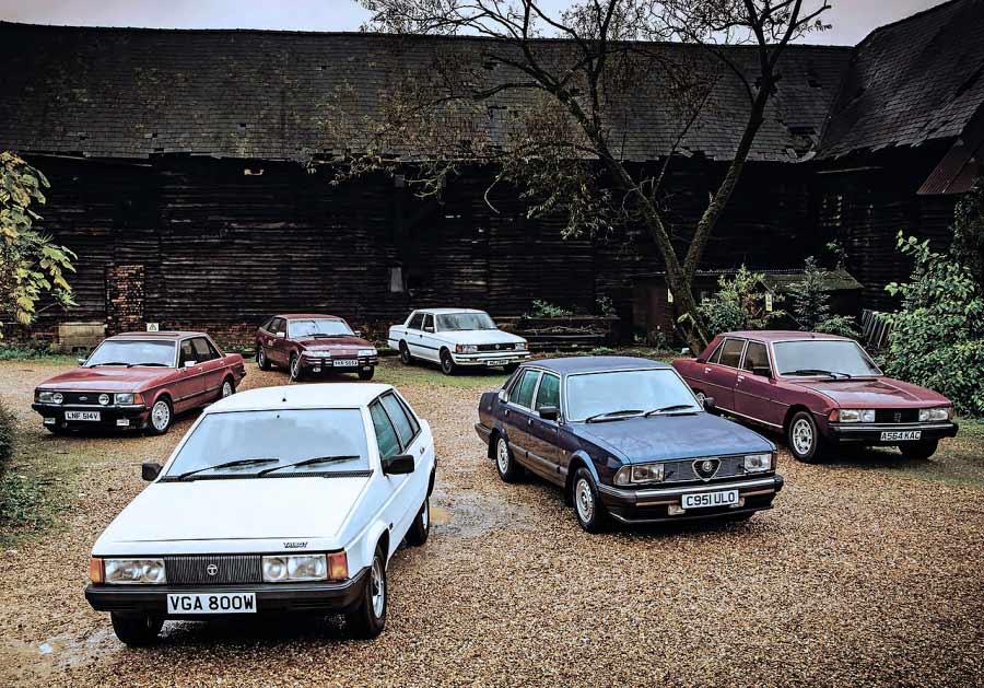 Ford Granada 2.8i Ghia, Alfa 6, Toyota Crown Super Saloon, Rover 3500 Vanden Plas vs. Peugeot 604 STI and Talbot Tagora GL