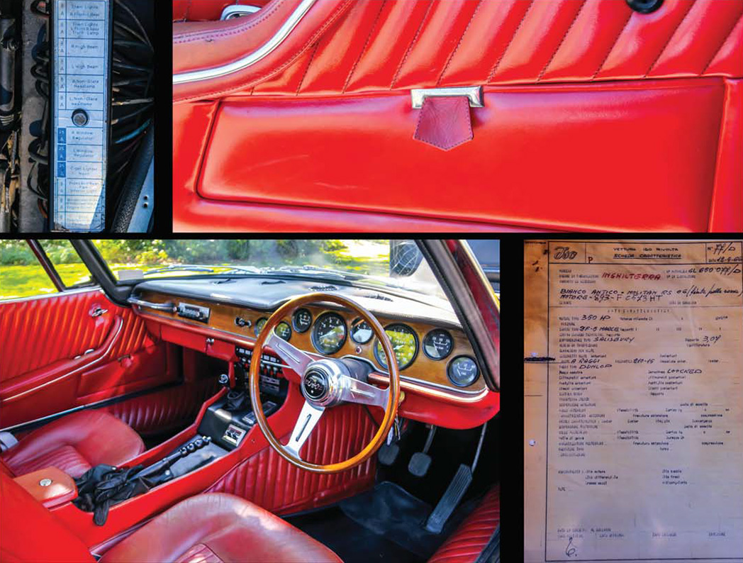 Hard to believe that the all paddedleather interior is the original. The factory build sheet. Even the map pockets in the doors are all style.