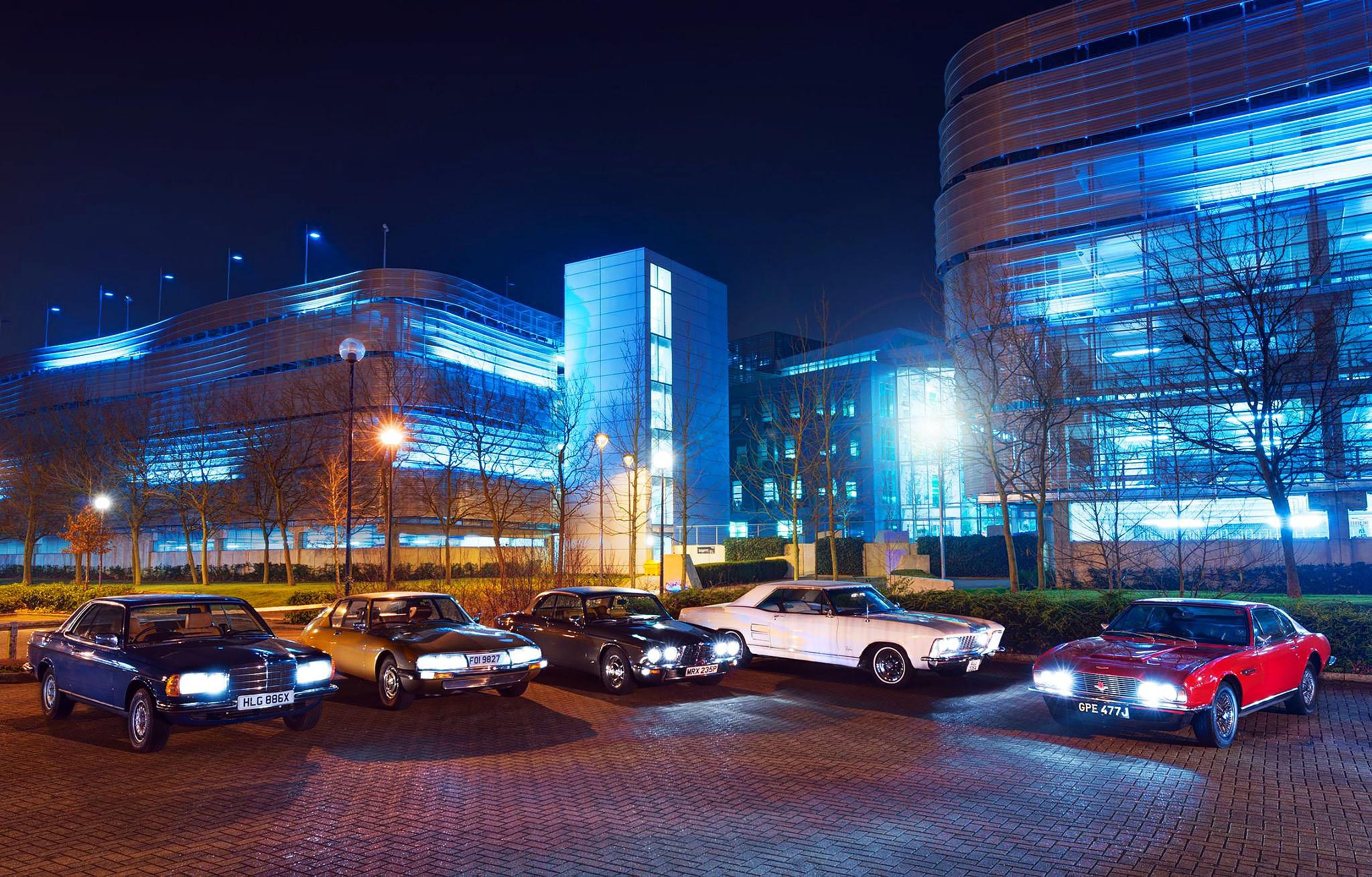 Aston Martin DBS vs. Citroen SM, Buick Riviera, Jaguar XJ12C and Mercedes-Benz 280CE C123