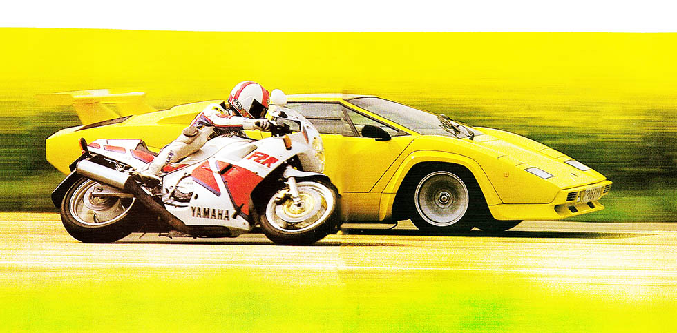 1987 Lamborghini Countach QV vs. 1987 Yanaha FZR 1000 – epic road test - supercar vs. superbike