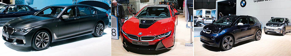 The M760Li xDrive was one of the stars of BMW's stand and while it's not a full-on M car it certainly performs.  BMW had two 'i cars' on display, both special editions, the Protonic red i8 and the 'Mr Porter' version of the i3.