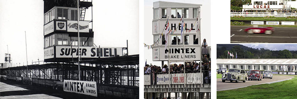 Above: pits weren't provided until the 1952 season, and were initially somewhat ramshackle. The recreated tower now houses the commentators.