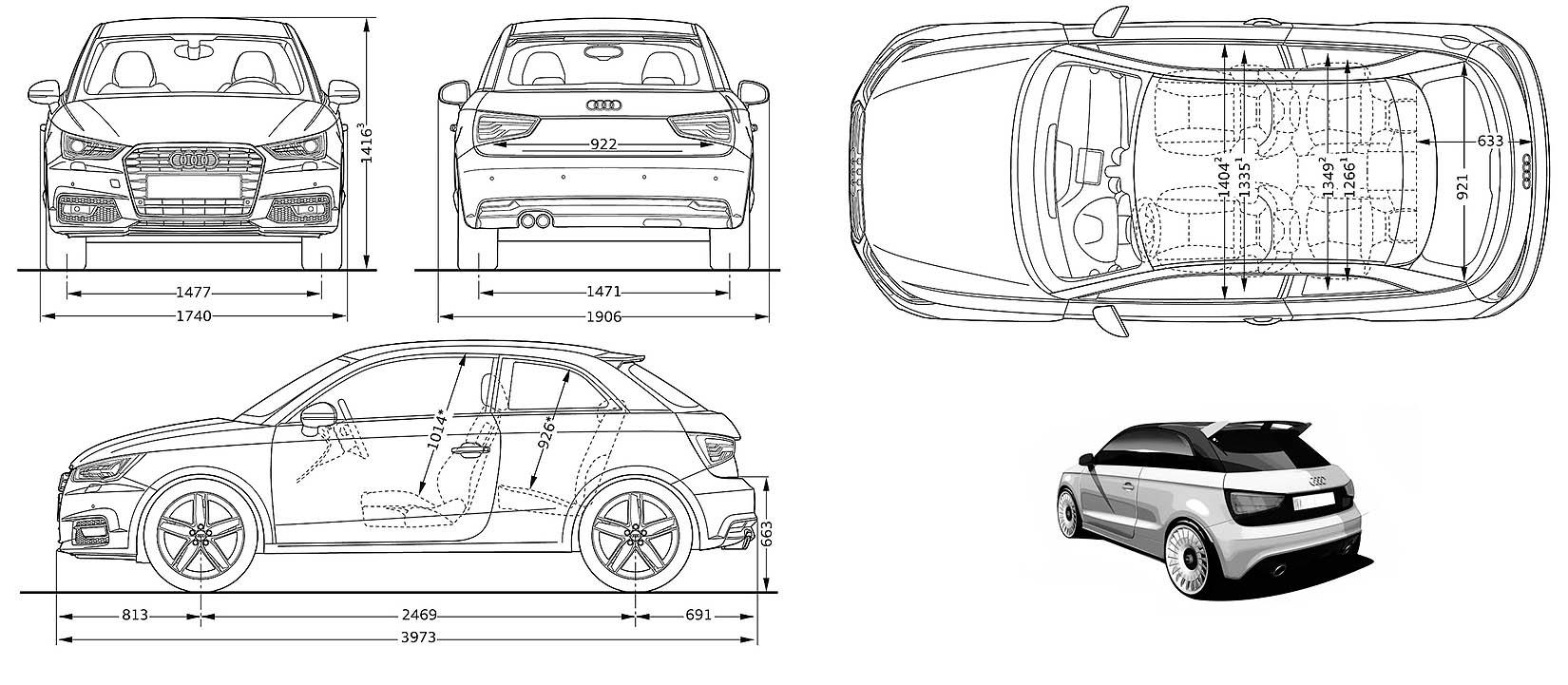 Audi A1 Sportback DIMENSIONS