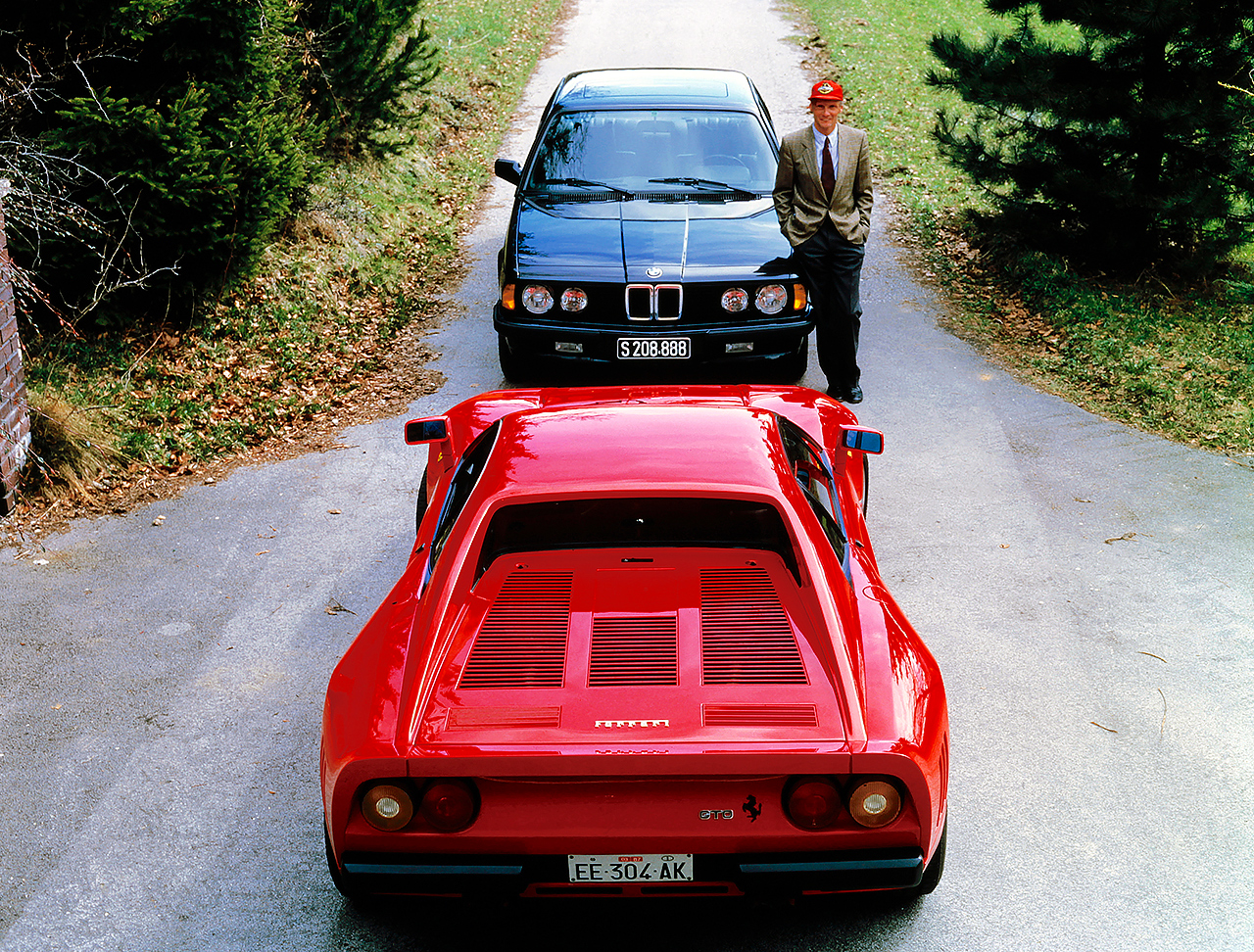 1986 Niki Lauda's Ferrari 288 GTO and BMW 745i E23