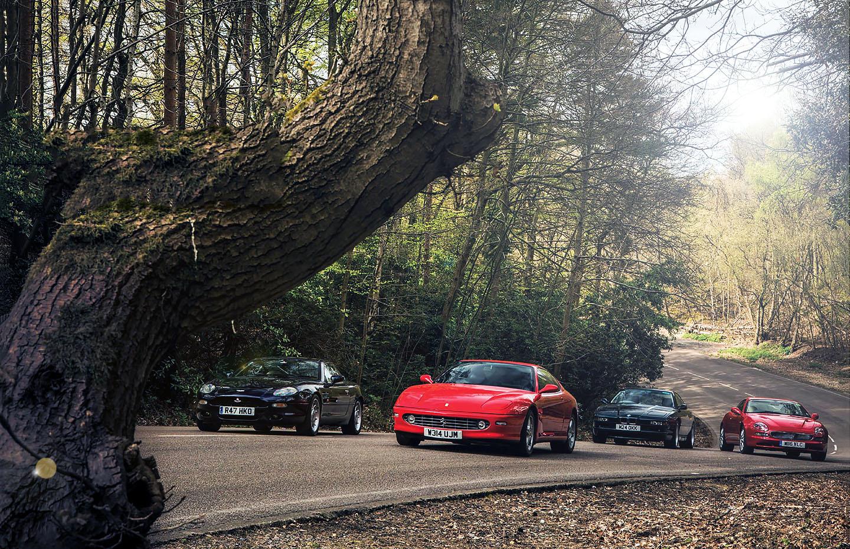 Ferrari 456 GTA vs. Aston-Martin DB7, BMW 850CSi E31 and Maserati 3200GT - driven