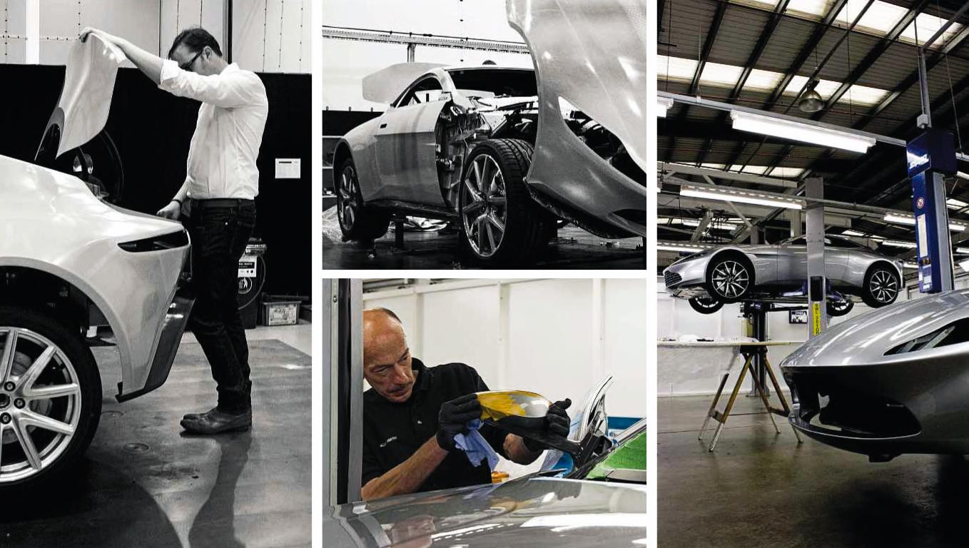 Above and right. The small team at Aston's Q Advanced Engineering department worked round the clock towards the end of the project to get the cars finished in time. At one stage, five cars were being worked on simultaneously.