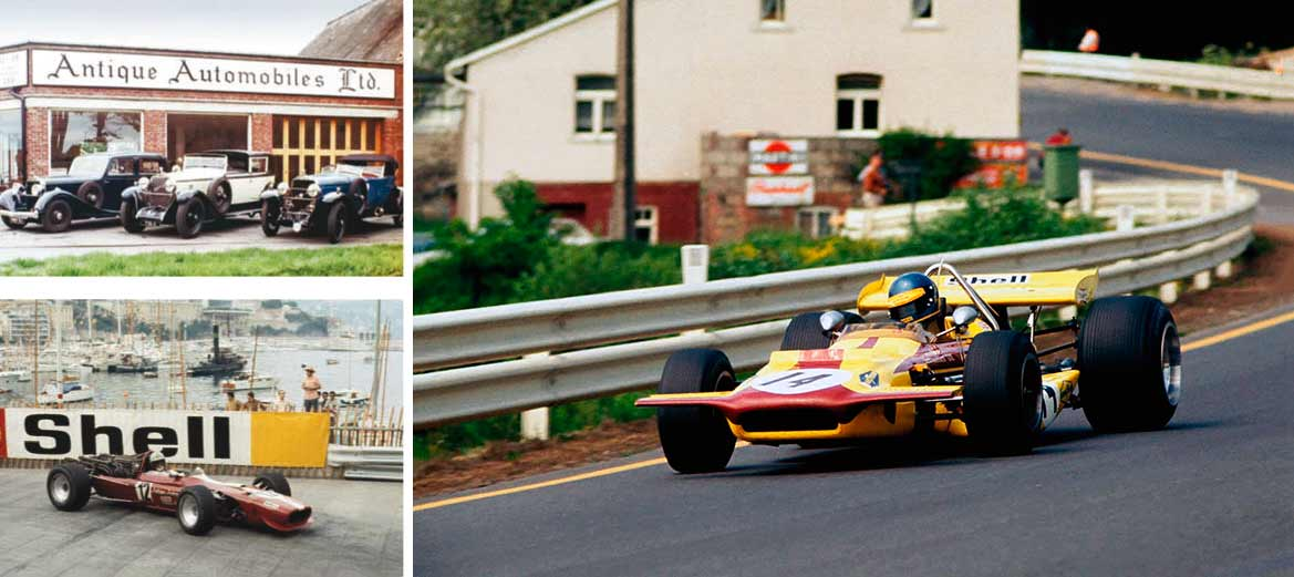eterson blasts through Burnenville during the 1970 Belgian Grand Prix, the last to be held on the old Spa road circuit; Hispano Suiza trio outside Crabbe's Baston showroom in 1968; Elford at Monaco in '1969 – Antique Automobiles was, perhaps, the perfect entrant for an outdated Cooper Maserati.