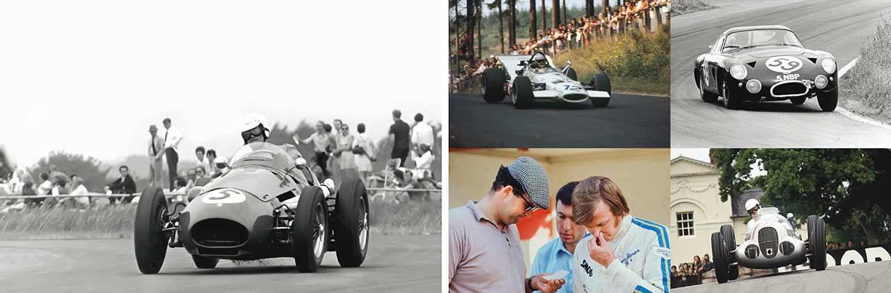 """Clockwise: pressing on in the ex-Stan Jones 250F, Thruxton 1967; at Brands Hatch in the Aston DP214, '65; fabulous Mercedes W125, here at Oulton Park, was """"easy to drive""""; with Ronnie Peterson in 1970; Elford's outing in the '1969 German Grand Prix ended in a major accident."""