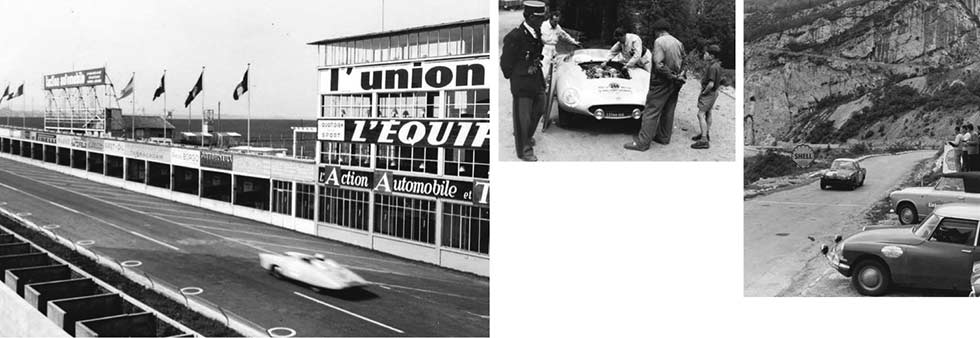 Clockwise, from far left: blast-off at Le Mans in 1964, with winner Lucien Bianchi in the centre; Panhard at Reims, 1953; Brit Rosemary Smith's Sunbeam Alpine in 1963; plug change for François Picard's Ferrari, 1954.