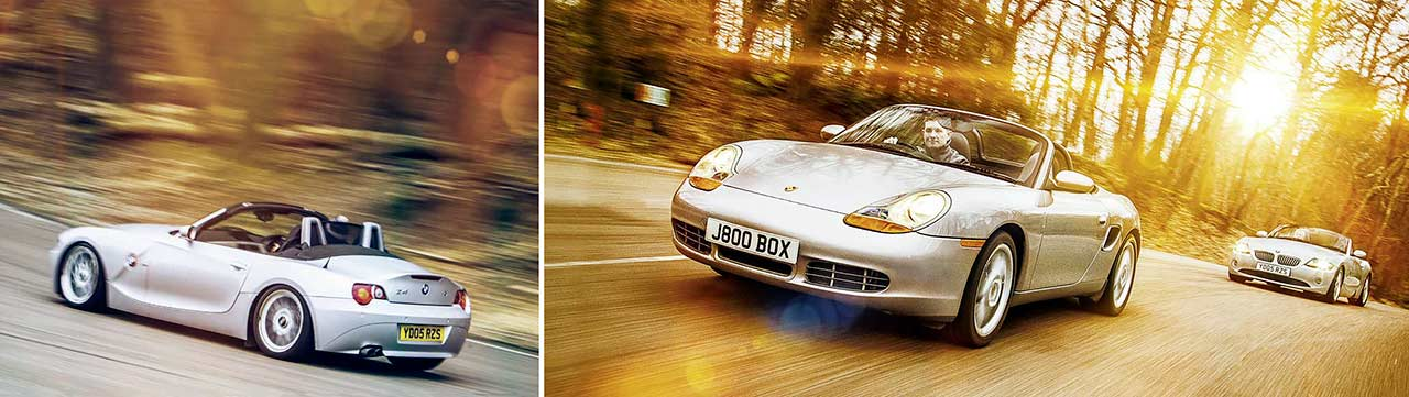 BMW Z4 3.0i SE E85 vs. Porsche Boxster S 986 road test
