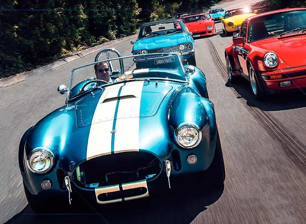 Ford Capri 3.0, Porsche 911 Turbo 930, AC Cobra, TVR Griffith, Peugeot 205 GTI 1.9, Ferrari F40 and Lancia Stratos