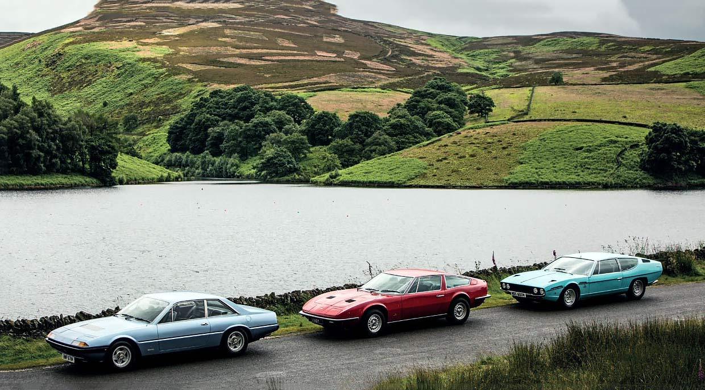 Giant road test Ferrari 365GT4 2+2 vs. Lamborghini Espada and Maserati Indy
