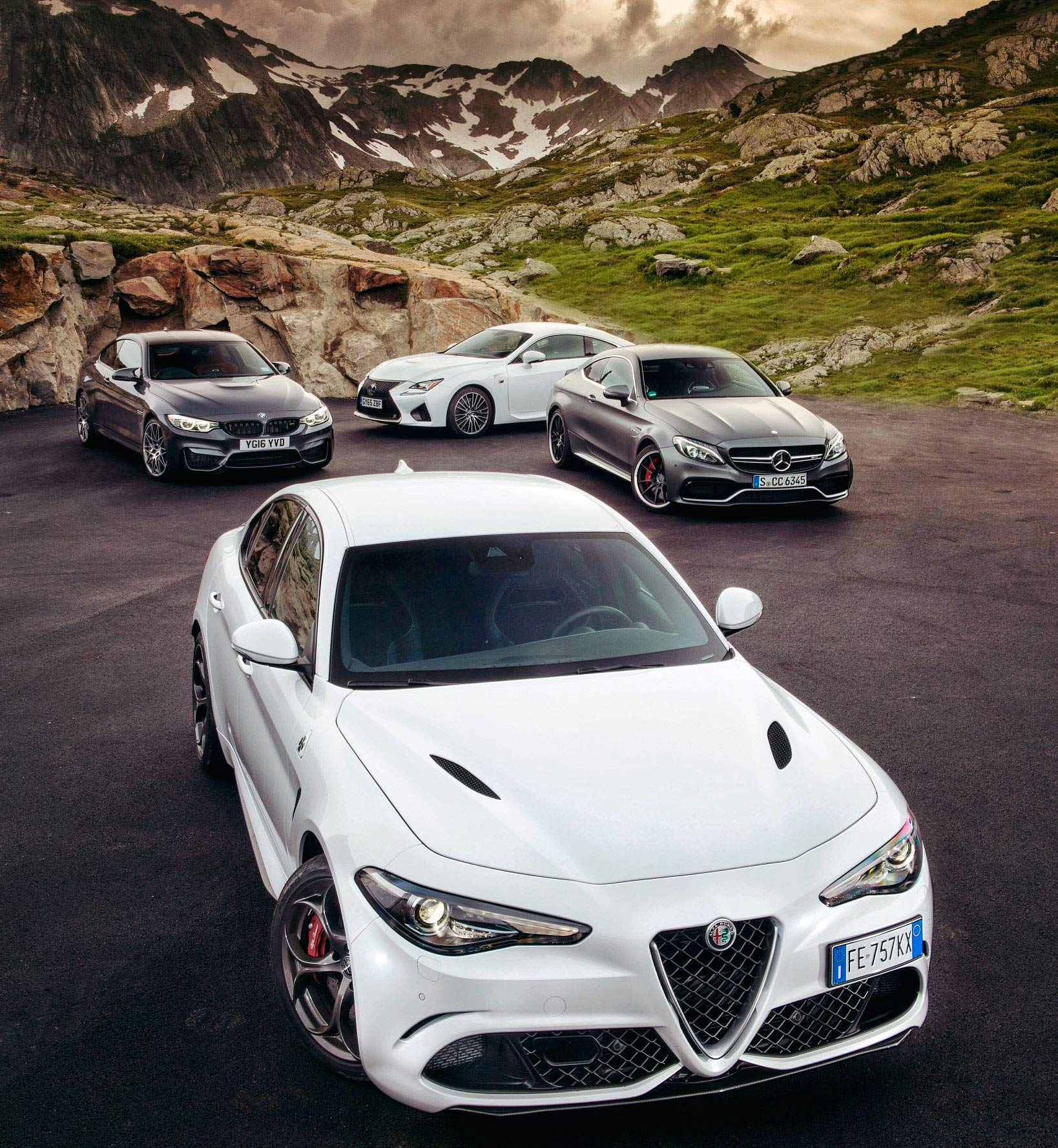 Alfa Romeo Giulia Quadrifoglio Typo 952 vs. BMW M4 Competition Package F82 vs. Mercedes-AMG C63 S Coupe C205 and Lexus RC-F