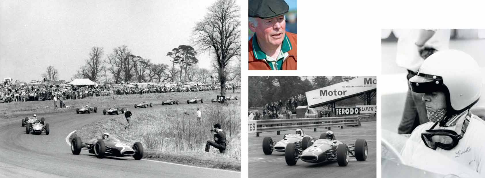 From top left: Piers Courage at Oulton Park in Lucas' Formula Three Brabham, 1965; 'Luke' in 2007; leading Derek Bell at Mallory Park, in '1967; in his historic-racing days.