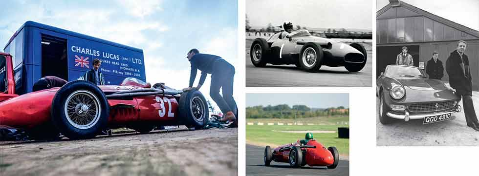 Clockwise, from above: '60s fashion shoot with Ferrari 275GTS and Boley Pittard to Lucas' right, and Courage to the fore; Maserati with the team transporter; enjoying the 250F in period and on its 'birthday' at Croft in 2007